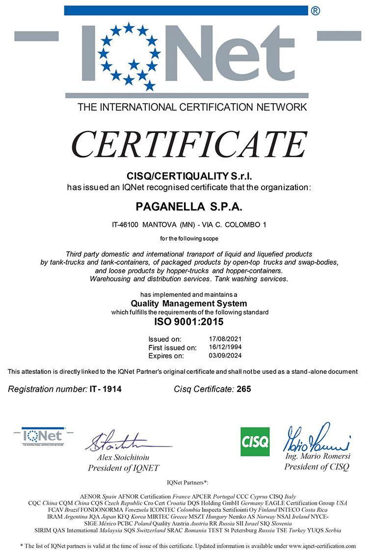 Paganella Logistics Company Certifications